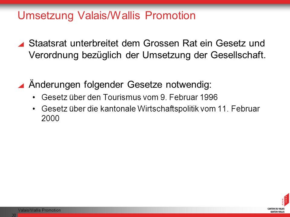 Valais/Wallis Promotion 30 Umsetzung Valais/Wallis Promotion Staatsrat unterbreitet dem Grossen Rat ein Gesetz und Verordnung bezüglich der Umsetzung der Gesellschaft.