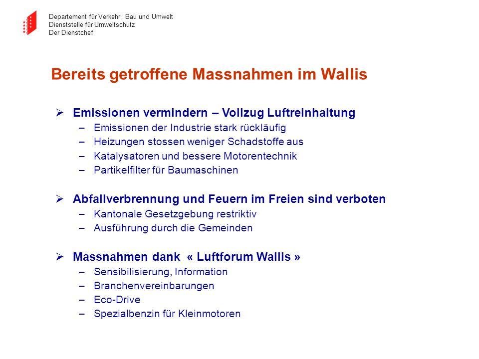 Departement für Verkehr, Bau und Umwelt Dienststelle für Umweltschutz Der Dienstchef Bereits getroffene Massnahmen im Wallis Emissionen vermindern – V