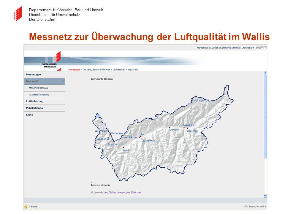 Departement für Verkehr, Bau und Umwelt Dienststelle für Umweltschutz Der Dienstchef Messnetz zur Überwachung der Luftqualität im Wallis