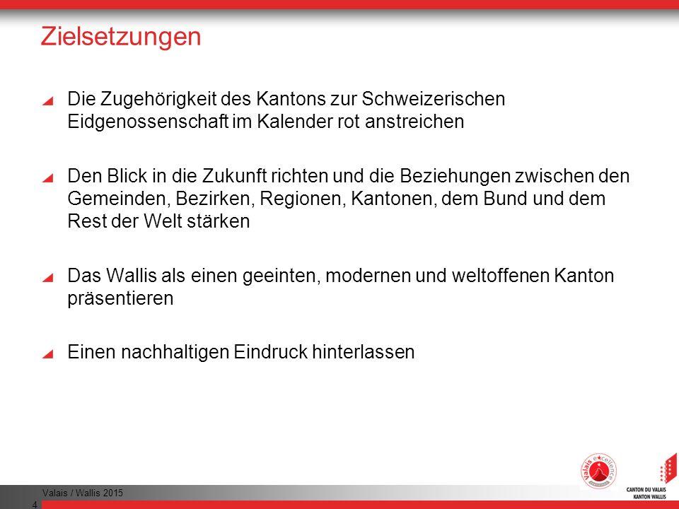 Valais / Wallis 2015 4 Zielsetzungen Die Zugehörigkeit des Kantons zur Schweizerischen Eidgenossenschaft im Kalender rot anstreichen Den Blick in die