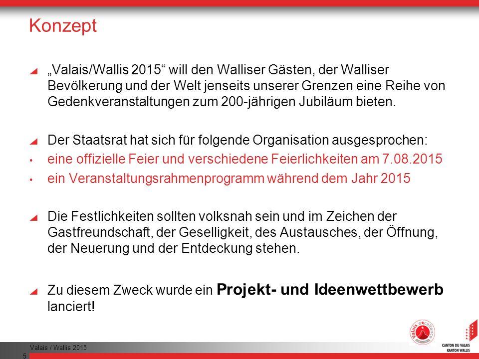 Valais / Wallis 2015 5 Konzept Valais/Wallis 2015 will den Walliser Gästen, der Walliser Bevölkerung und der Welt jenseits unserer Grenzen eine Reihe von Gedenkveranstaltungen zum 200-jährigen Jubiläum bieten.