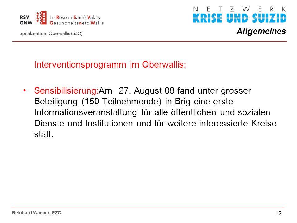 Allgemeines Reinhard Waeber, PZO 12 Interventionsprogramm im Oberwallis: Sensibilisierung:Am 27.