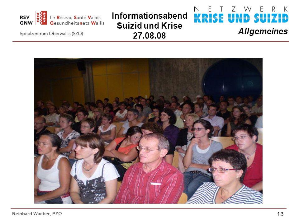 Allgemeines Reinhard Waeber, PZO 13 Informationsabend Suizid und Krise 27.08.08
