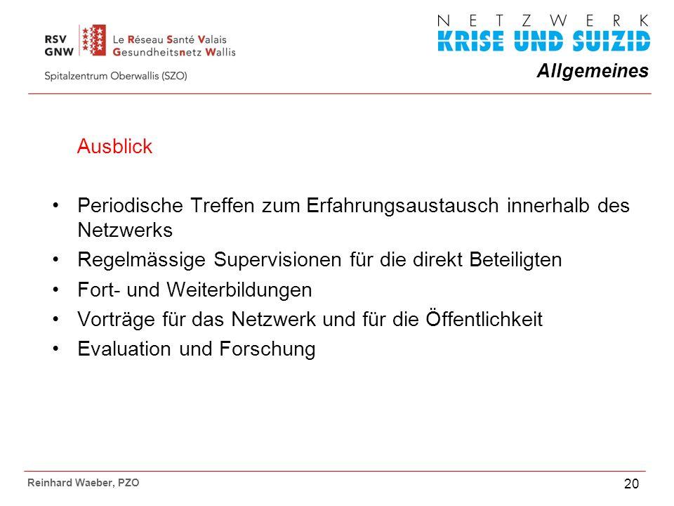 Allgemeines Reinhard Waeber, PZO 20 Ausblick Periodische Treffen zum Erfahrungsaustausch innerhalb des Netzwerks Regelmässige Supervisionen für die direkt Beteiligten Fort- und Weiterbildungen Vorträge für das Netzwerk und für die Öffentlichkeit Evaluation und Forschung