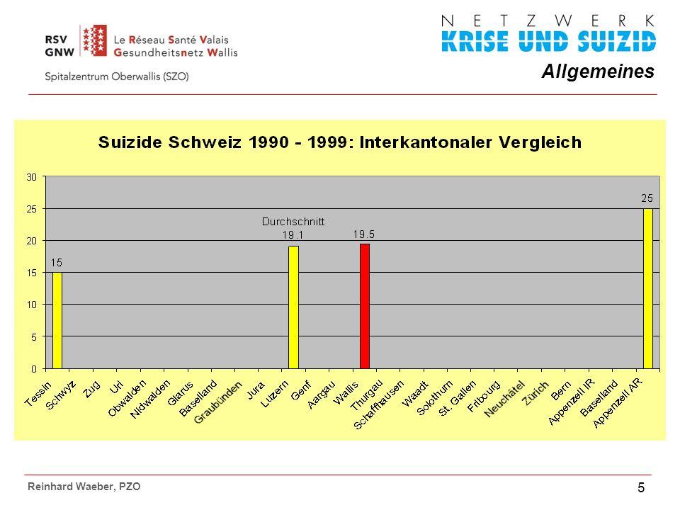 Allgemeines Reinhard Waeber, PZO 6 Wallis 1988 - 2007: Total 1027 Suizide Durchschnittlich 51 S.