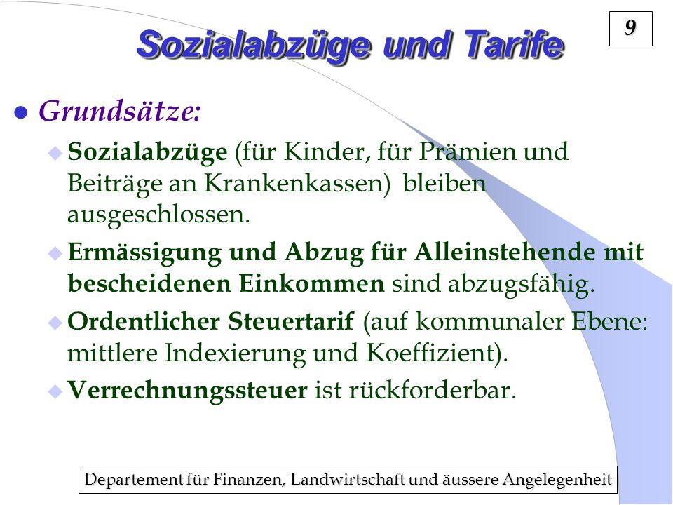 Departement für Finanzen, Landwirtschaft und äussere Angelegenheit 9 Sozialabzüge und Tarife l Grundsätze: Sozialabzüge (für Kinder, für Prämien und B