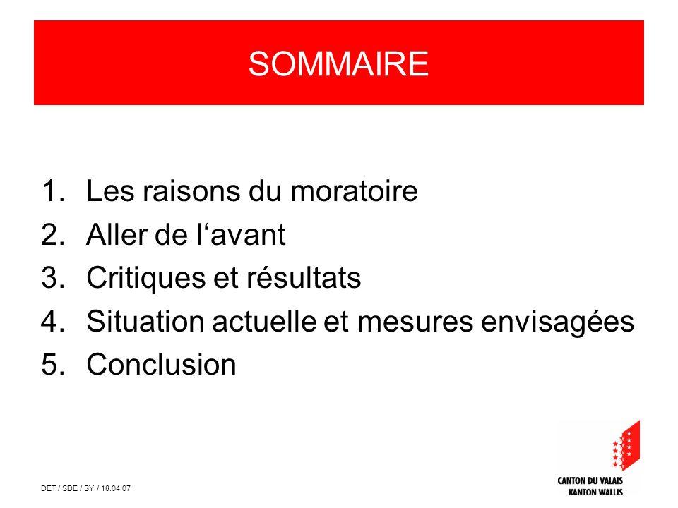 DET / SDE / SY / 18.04.07 SOMMAIRE 1.Les raisons du moratoire 2.Aller de lavant 3.Critiques et résultats 4.Situation actuelle et mesures envisagées 5.Conclusion