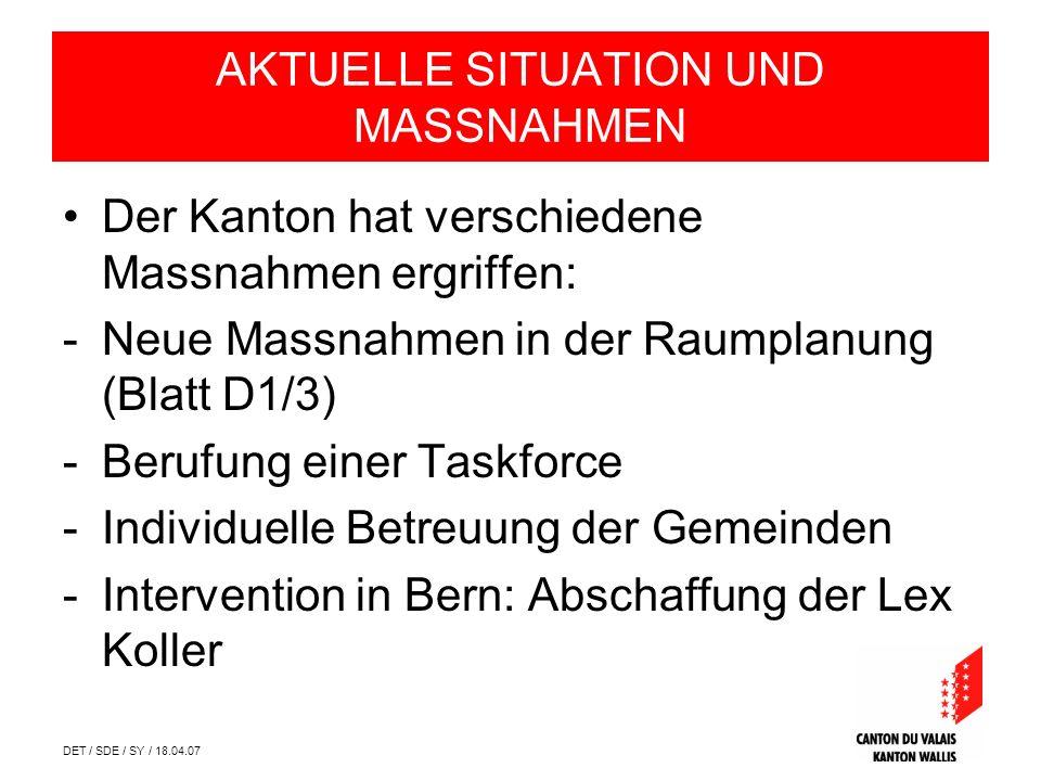 DET / SDE / SY / 18.04.07 AKTUELLE SITUATION UND MASSNAHMEN Der Kanton hat verschiedene Massnahmen ergriffen: -Neue Massnahmen in der Raumplanung (Blatt D1/3) -Berufung einer Taskforce -Individuelle Betreuung der Gemeinden -Intervention in Bern: Abschaffung der Lex Koller