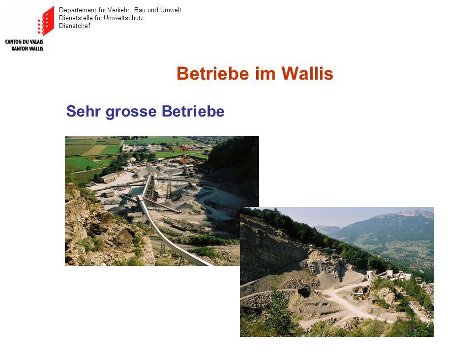 Departement für Verkehr, Bau und Umwelt Dienststelle für Umweltschutz Dienstchef Betriebe im Wallis Sehr grosse Betriebe