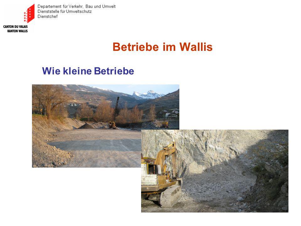 Departement für Verkehr, Bau und Umwelt Dienststelle für Umweltschutz Dienstchef Betriebe im Wallis Wie kleine Betriebe