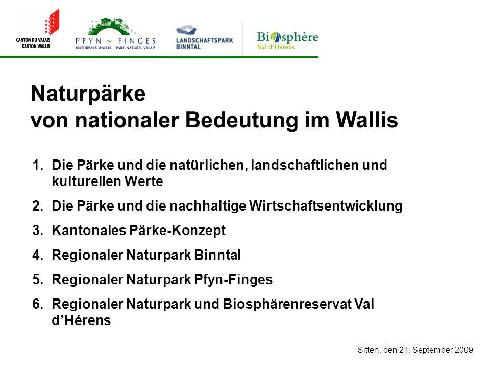 1.Die Pärke und die natürlichen, landschaftlichen und kulturellen Werte 2.Die Pärke und die nachhaltige Wirtschaftsentwicklung 3.Kantonales Pärke-Konzept 4.Regionaler Naturpark Binntal 5.Regionaler Naturpark Pfyn-Finges 6.Regionaler Naturpark und Biosphärenreservat Val dHérens Naturpärke von nationaler Bedeutung im Wallis Sitten, den 21.