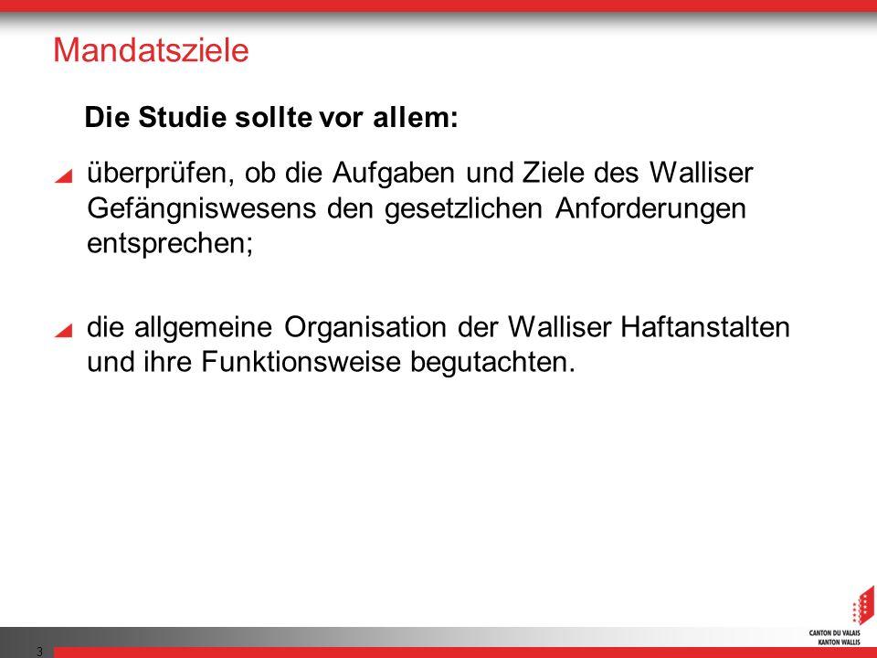 Mandatsziele überprüfen, ob die Aufgaben und Ziele des Walliser Gefängniswesens den gesetzlichen Anforderungen entsprechen; die allgemeine Organisatio