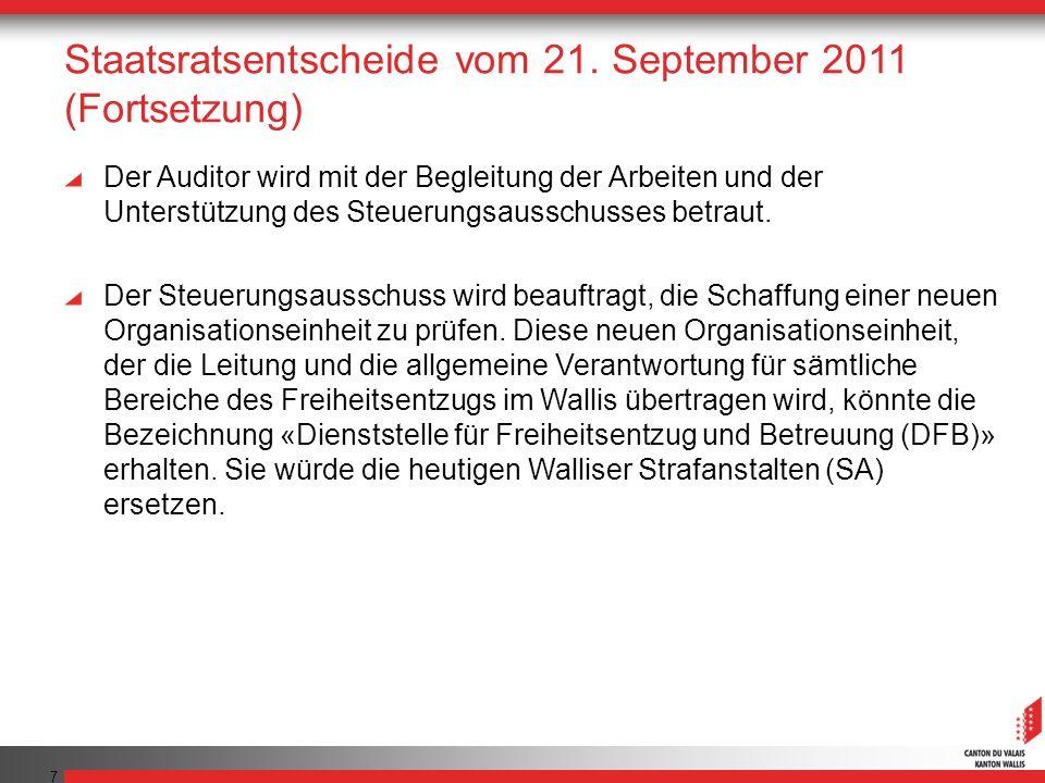 7 Staatsratsentscheide vom 21. September 2011 (Fortsetzung) Der Auditor wird mit der Begleitung der Arbeiten und der Unterstützung des Steuerungsaussc