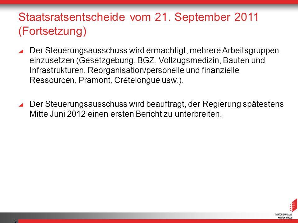 9 Staatsratsentscheide vom 21. September 2011 (Fortsetzung) Der Steuerungsausschuss wird ermächtigt, mehrere Arbeitsgruppen einzusetzen (Gesetzgebung,