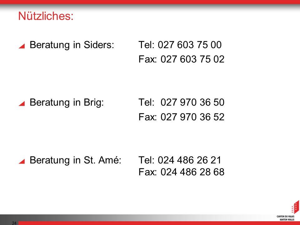 24 Nützliches: Beratung in Siders: Tel: 027 603 75 00 Fax: 027 603 75 02 Beratung in Brig: Tel: 027 970 36 50 Fax: 027 970 36 52 Beratung in St.