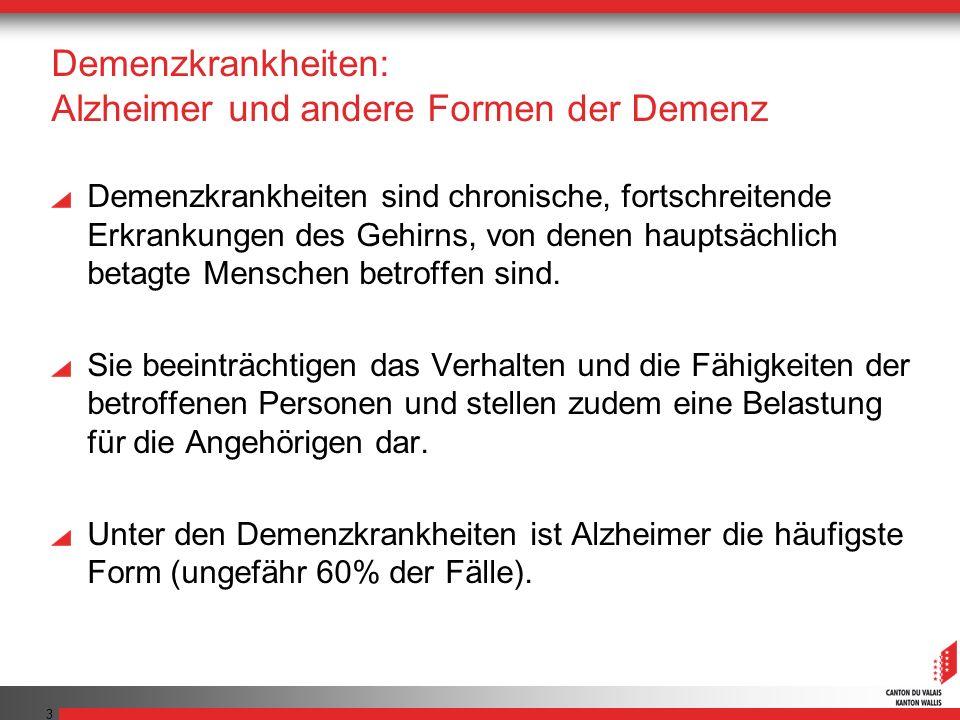 3 Demenzkrankheiten: Alzheimer und andere Formen der Demenz Demenzkrankheiten sind chronische, fortschreitende Erkrankungen des Gehirns, von denen hauptsächlich betagte Menschen betroffen sind.