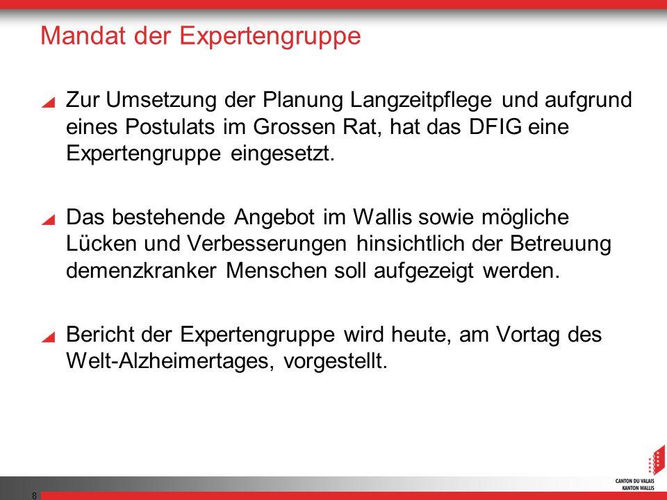 8 Mandat der Expertengruppe Zur Umsetzung der Planung Langzeitpflege und aufgrund eines Postulats im Grossen Rat, hat das DFIG eine Expertengruppe eingesetzt.