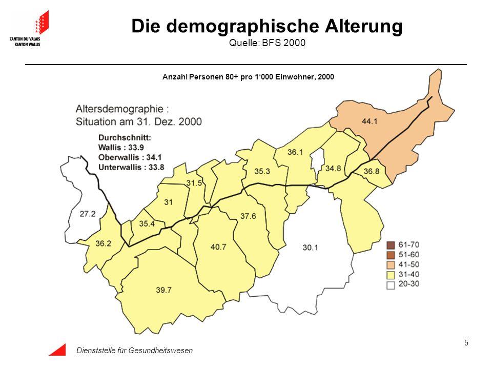Dienststelle für Gesundheitswesen 5 Die demographische Alterung Quelle: BFS 2000 Anzahl Personen 80+ pro 1000 Einwohner, 2000