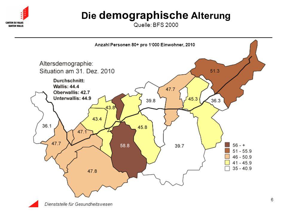 Dienststelle für Gesundheitswesen 6 Die demographische Alterung Quelle: BFS 2000 Anzahl Personen 80+ pro 1000 Einwohner, 2010