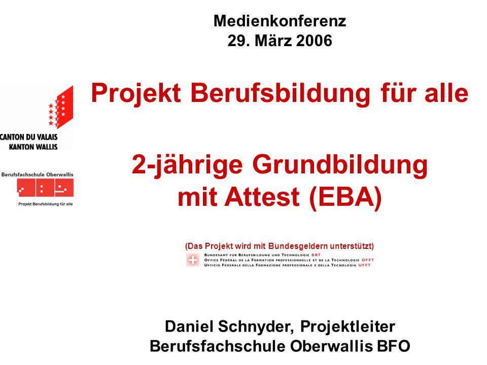 Medienkonferenz 29. März 2006 Daniel Schnyder, Projektleiter Berufsfachschule Oberwallis BFO Projekt Berufsbildung für alle 2-jährige Grundbildung mit