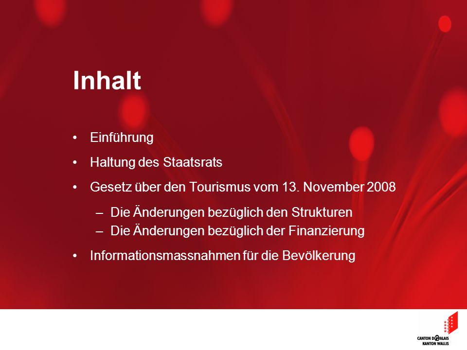 2 Inhalt Einführung Haltung des Staatsrats Gesetz über den Tourismus vom 13. November 2008 –Die Änderungen bezüglich den Strukturen –Die Änderungen be