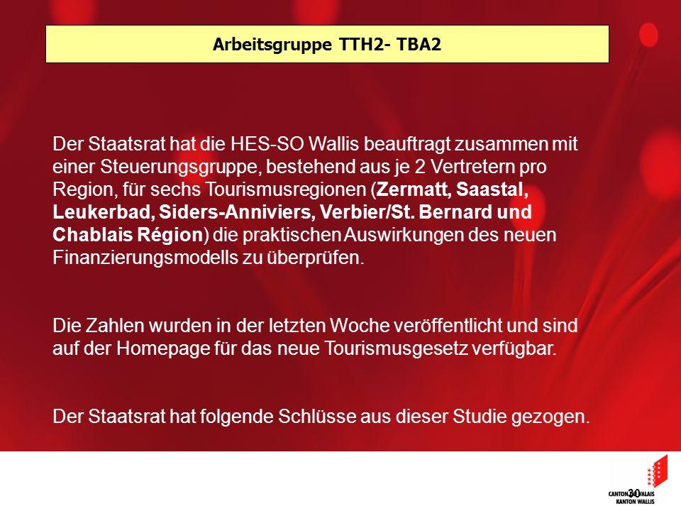 30 Arbeitsgruppe TTH2- TBA2 Der Staatsrat hat die HES-SO Wallis beauftragt zusammen mit einer Steuerungsgruppe, bestehend aus je 2 Vertretern pro Region, für sechs Tourismusregionen (Zermatt, Saastal, Leukerbad, Siders-Anniviers, Verbier/St.