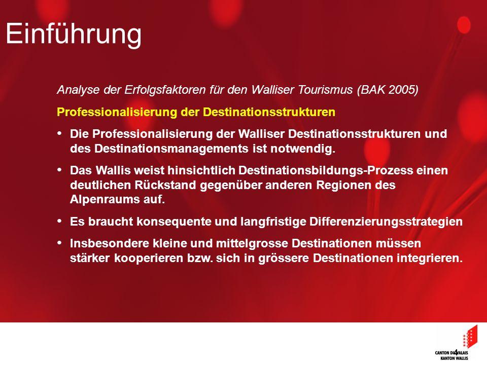 4 Analyse der Erfolgsfaktoren für den Walliser Tourismus (BAK 2005) Professionalisierung der Destinationsstrukturen Die Professionalisierung der Walliser Destinationsstrukturen und des Destinationsmanagements ist notwendig.