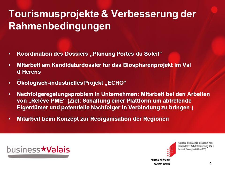 4 Tourismusprojekte & Verbesserung der Rahmenbedingungen Koordination des Dossiers Planung Portes du Soleil Mitarbeit am Kandidaturdossier für das Bio