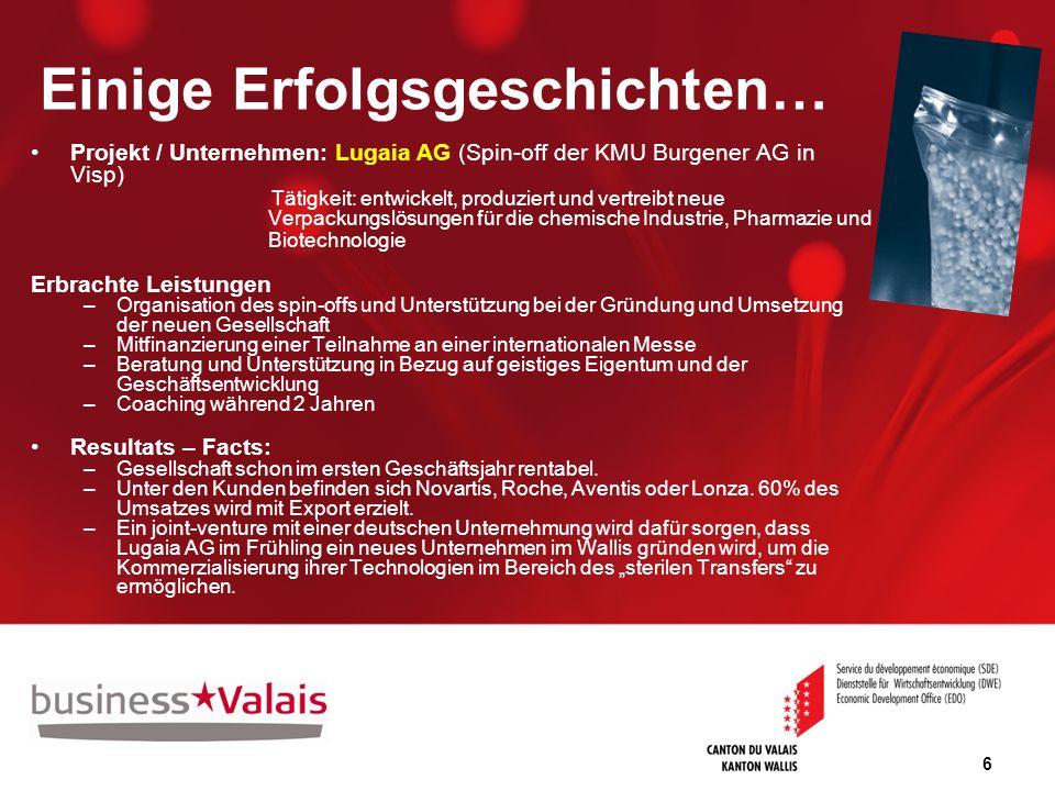 6 Einige Erfolgsgeschichten… Projekt / Unternehmen: Lugaia AG (Spin-off der KMU Burgener AG in Visp) Tätigkeit: entwickelt, produziert und vertreibt n