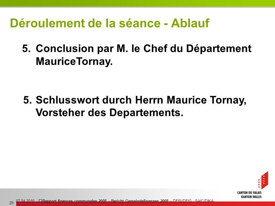 07.04.2010 - Rapport finances communales 2008 – Bericht Gemeindefinanzen 2008 – DFIS/DFIG - SAIC/DIKA 29 Déroulement de la séance - Ablauf 5. Conclusi