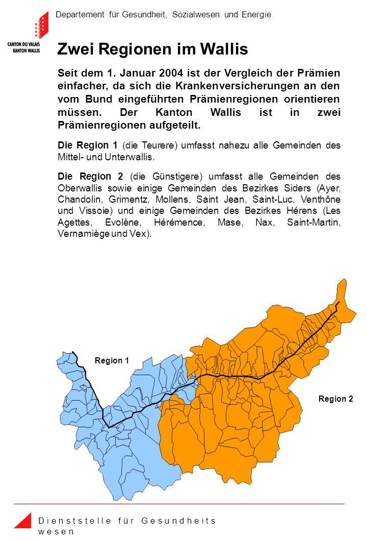 Departement für Gesundheit, Sozialwesen und Energie D i e n s t s t e l l e f ü r G e s u n d h e i t s w e s e n Region 1 Region 2 Zwei Regionen im Wallis Seit dem 1.