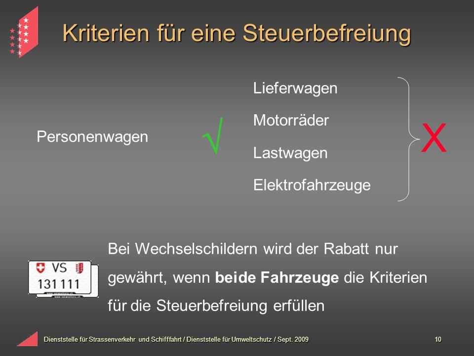 Dienststelle für Strassenverkehr und Schifffahrt / Dienststelle für Umweltschutz / Sept. 200910 Kriterien für eine Steuerbefreiung Personenwagen Liefe