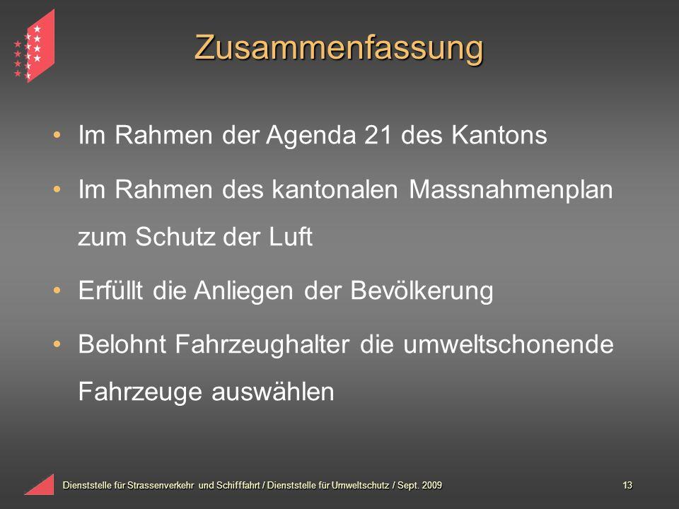 Dienststelle für Strassenverkehr und Schifffahrt / Dienststelle für Umweltschutz / Sept. 200913 Zusammenfassung Im Rahmen der Agenda 21 des Kantons Im