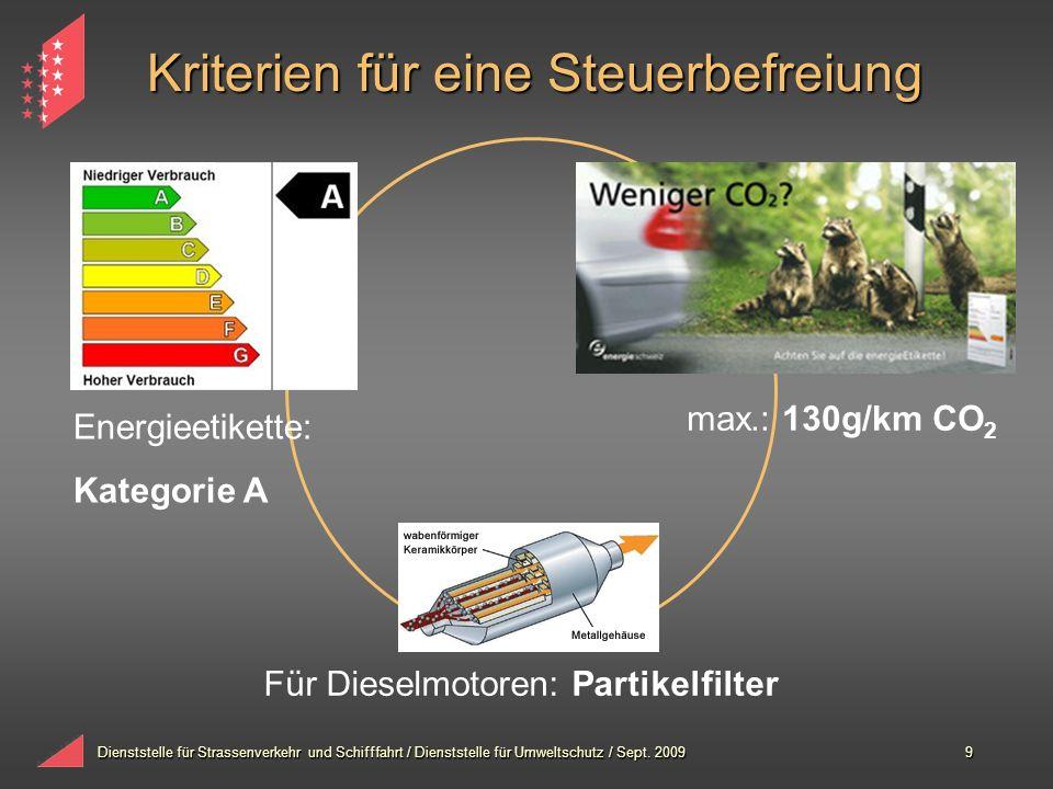 Dienststelle für Strassenverkehr und Schifffahrt / Dienststelle für Umweltschutz / Sept. 20099 Kriterien für eine Steuerbefreiung max.: 130g/km CO 2 F