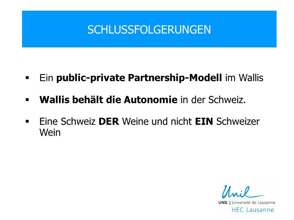 SCHLUSSFOLGERUNGEN Ein public-private Partnership-Modell im Wallis Wallis behält die Autonomie in der Schweiz.