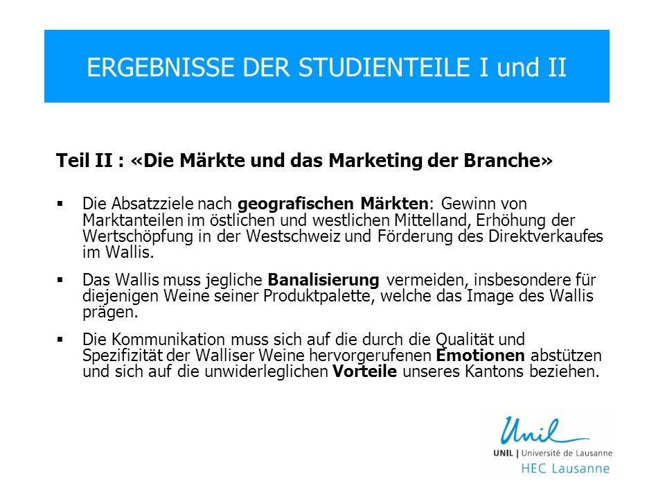 Teil II : «Die Märkte und das Marketing der Branche» Die Absatzziele nach geografischen Märkten: Gewinn von Marktanteilen im östlichen und westlichen Mittelland, Erhöhung der Wertschöpfung in der Westschweiz und Förderung des Direktverkaufes im Wallis.