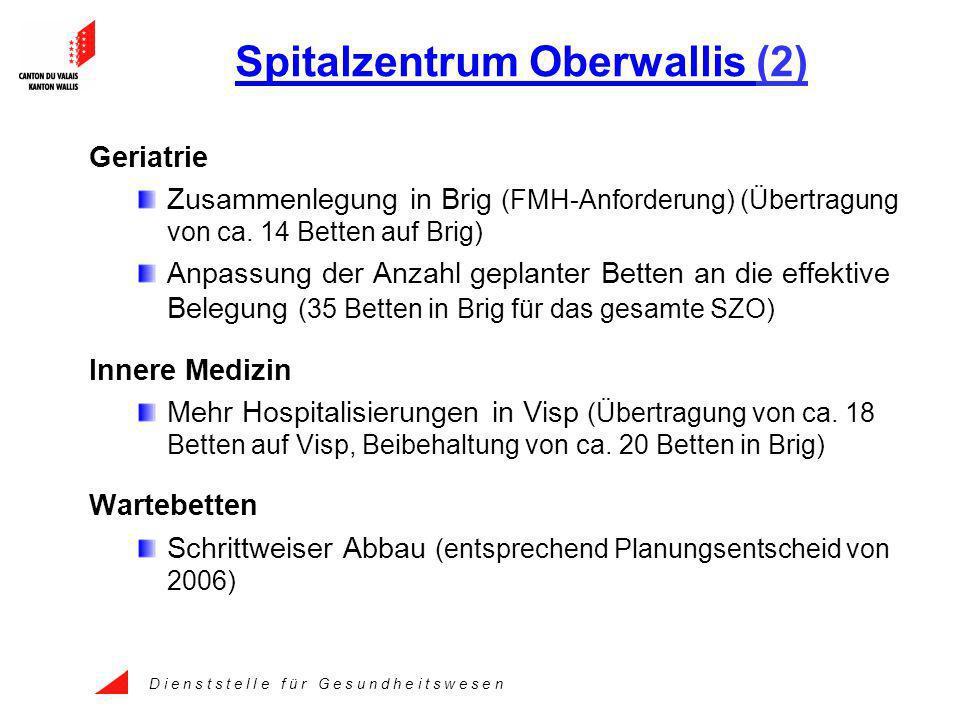 D i e n s t s t e l l e f ü r G e s u n d h e i t s w e s e n Spitalzentrum Oberwallis (2) Geriatrie Zusammenlegung in Brig (FMH-Anforderung) (Übertragung von ca.