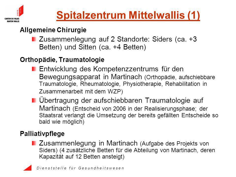 D i e n s t s t e l l e f ü r G e s u n d h e i t s w e s e n Spitalzentrum Mittelwallis (1) Allgemeine Chirurgie Zusammenlegung auf 2 Standorte: Siders (ca.