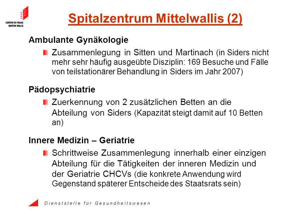 D i e n s t s t e l l e f ü r G e s u n d h e i t s w e s e n Spitalzentrum Mittelwallis (2) Ambulante Gynäkologie Zusammenlegung in Sitten und Martin