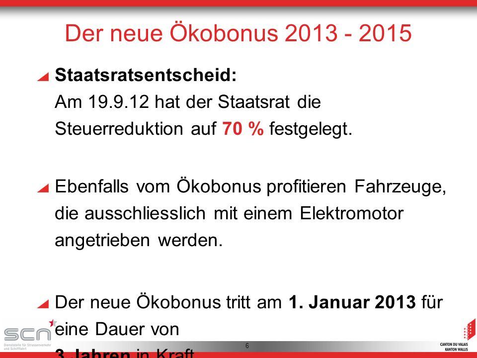 6 Staatsratsentscheid: Am 19.9.12 hat der Staatsrat die Steuerreduktion auf 70 % festgelegt.