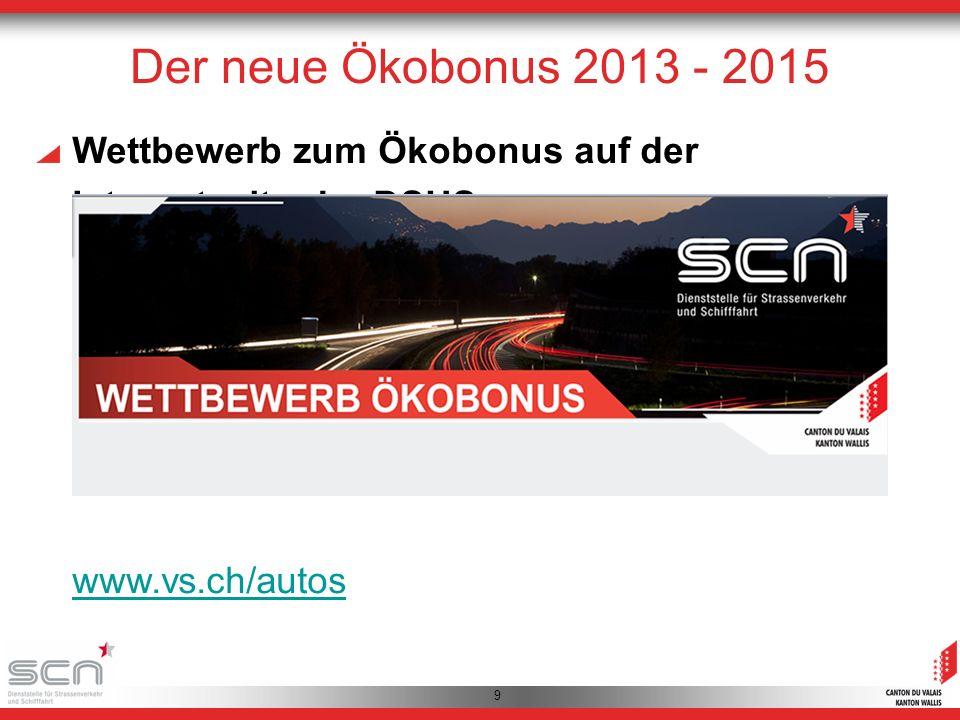 9 Wettbewerb zum Ökobonus auf der Internetseite der DSUS: www.vs.ch/autos Der neue Ökobonus 2013 - 2015
