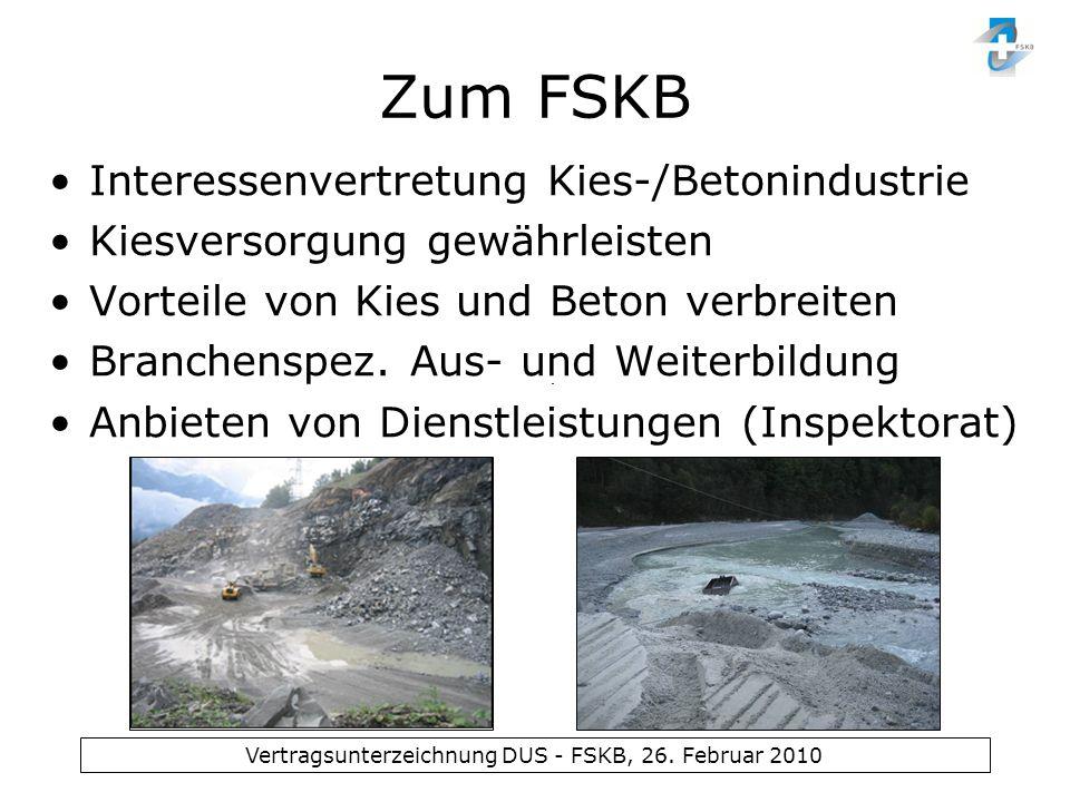 Zum FSKB Interessenvertretung Kies-/Betonindustrie Kiesversorgung gewährleisten Vorteile von Kies und Beton verbreiten Branchenspez. Aus- und Weiterbi