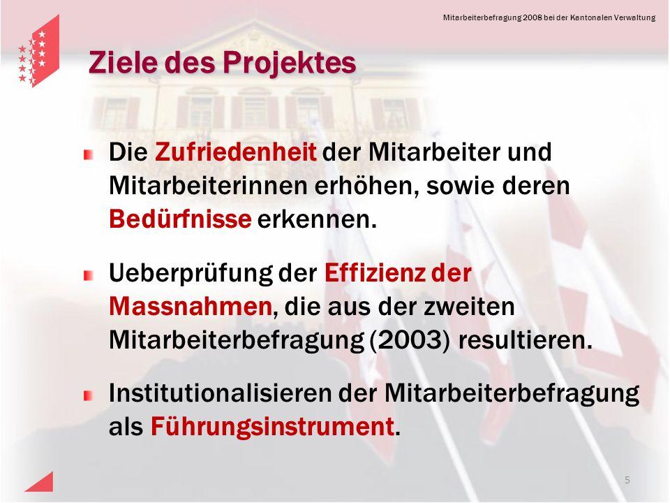 Mitarbeiterbefragung 2008 bei der Kantonalen Verwaltung Ziele des Projektes Die Zufriedenheit der Mitarbeiter und Mitarbeiterinnen erhöhen, sowie deren Bedürfnisse erkennen.