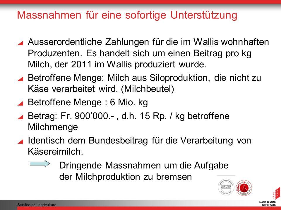 Service de lagriculture Massnahmen für eine sofortige Unterstützung Ausserordentliche Zahlungen für die im Wallis wohnhaften Produzenten. Es handelt s