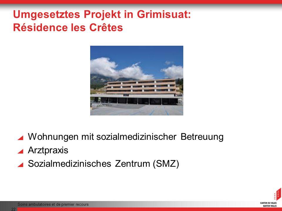 Umgesetztes Projekt in Grimisuat: Résidence les Crêtes Wohnungen mit sozialmedizinischer Betreuung Arztpraxis Sozialmedizinisches Zentrum (SMZ) Soins