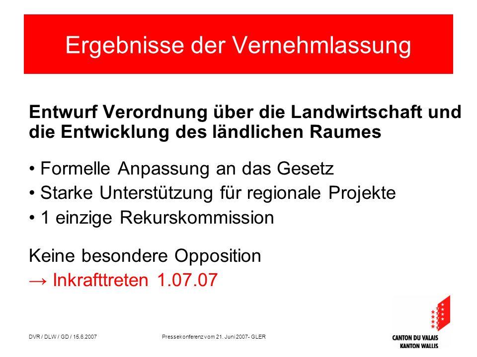 DVR / DLW / GD / 15.6.2007 Pressekonferenz vom 21. Juni 2007- GLER Ergebnisse der Vernehmlassung Entwurf Verordnung über die Landwirtschaft und die En