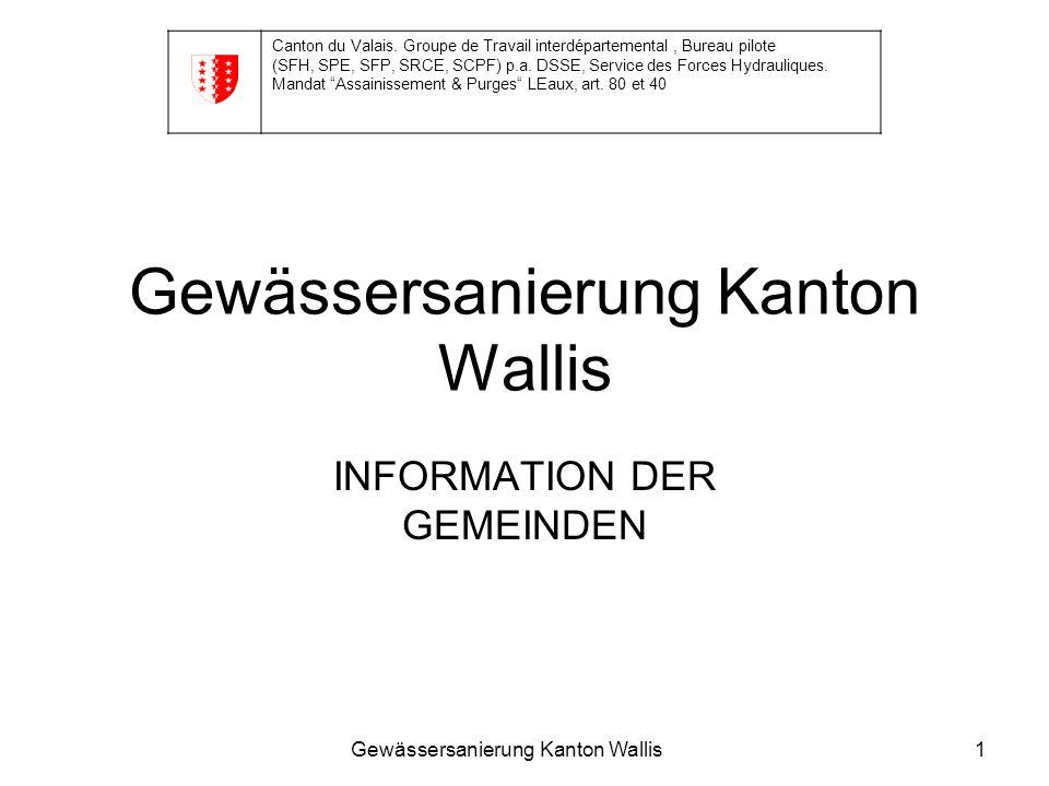 Gewässersanierung Kanton Wallis1 INFORMATION DER GEMEINDEN Canton du Valais. Groupe de Travail interdépartemental, Bureau pilote (SFH, SPE, SFP, SRCE,
