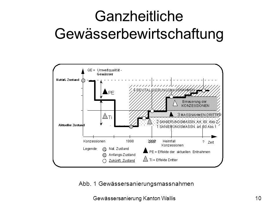 Gewässersanierung Kanton Wallis10 Ganzheitliche Gewässerbewirtschaftung Abb. 1 Gewässersanierungsmassnahmen