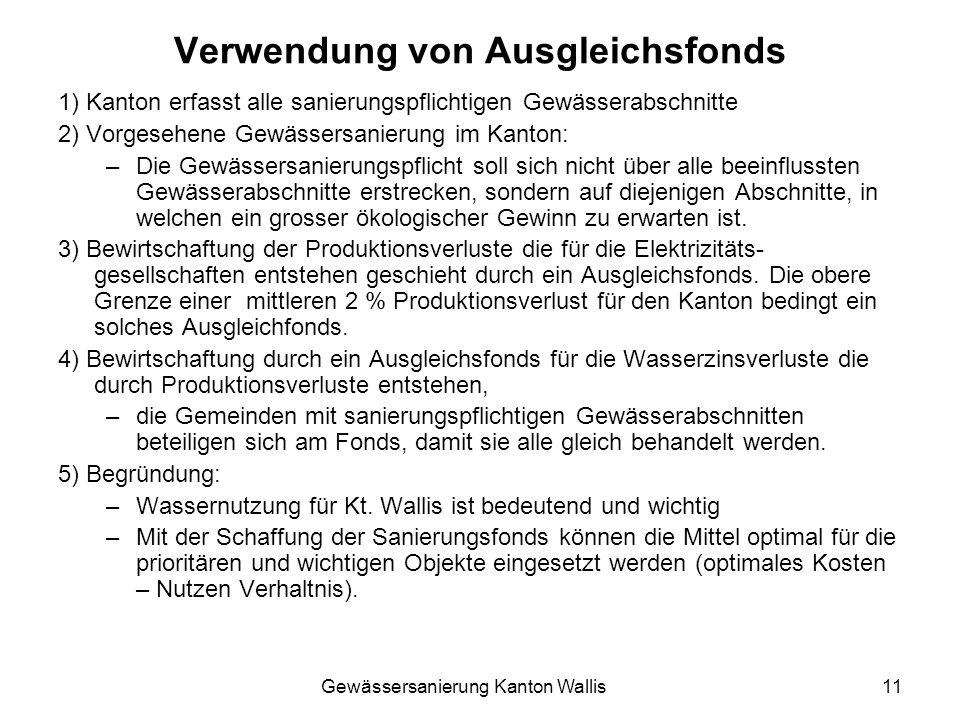Gewässersanierung Kanton Wallis11 Verwendung von Ausgleichsfonds 1) Kanton erfasst alle sanierungspflichtigen Gewässerabschnitte 2) Vorgesehene Gewäss