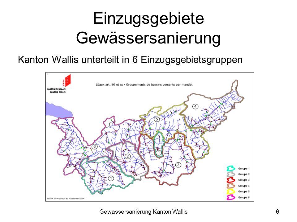 Gewässersanierung Kanton Wallis6 Einzugsgebiete Gewässersanierung Kanton Wallis unterteilt in 6 Einzugsgebietsgruppen
